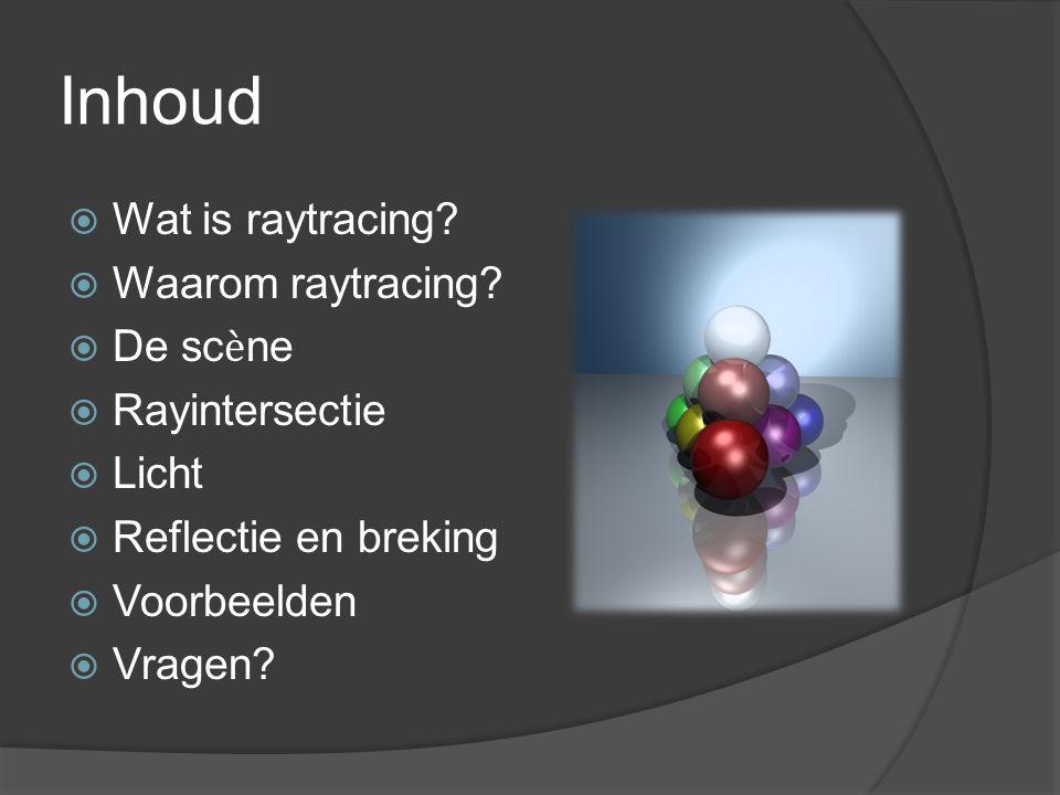 Inhoud  Wat is raytracing.  Waarom raytracing.