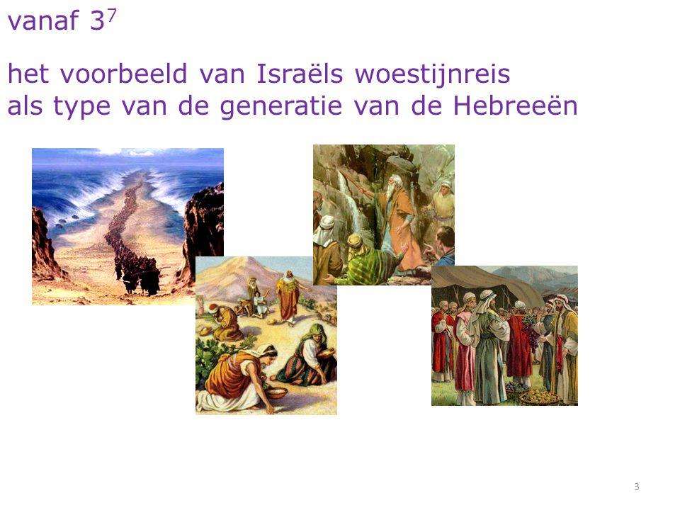 34 Hebreeën 4 7 stelt Hij wederom een dag vast, heden, als Hij door David na zo lange tijd spreekt, zoals boven gezegd werd: Heden, indien gij zijn stem hoort, verhardt uw harten niet.