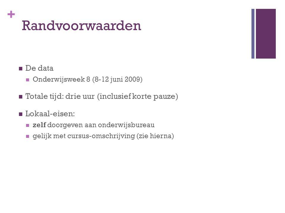 + Format Omschrijving Cursus Titel / Onderwerp Groepsnummer (conform lijst vaardighedendocent) Omvang: maximaal ½ A4 In Word (*.doc) Inhoud: Doelgroep + verwachte voorkennis Globale inhoud van de workshop Inleverdatum: maandag 18 mei 2009, voor 12.00 uur, per e-mail aan: onderwijsbureau.ica@han.nl (cc aan rody.middelkoop@han.nl)onderwijsbureau.ica@han.nl rody.middelkoop@han.nl