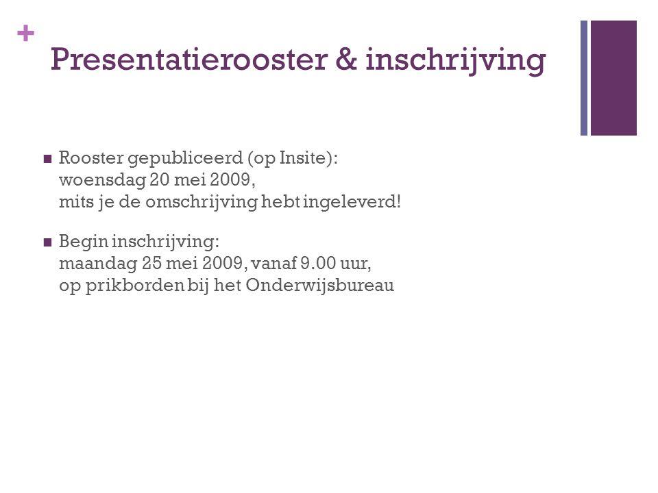 + Presentatierooster & inschrijving Rooster gepubliceerd (op Insite): woensdag 20 mei 2009, mits je de omschrijving hebt ingeleverd.