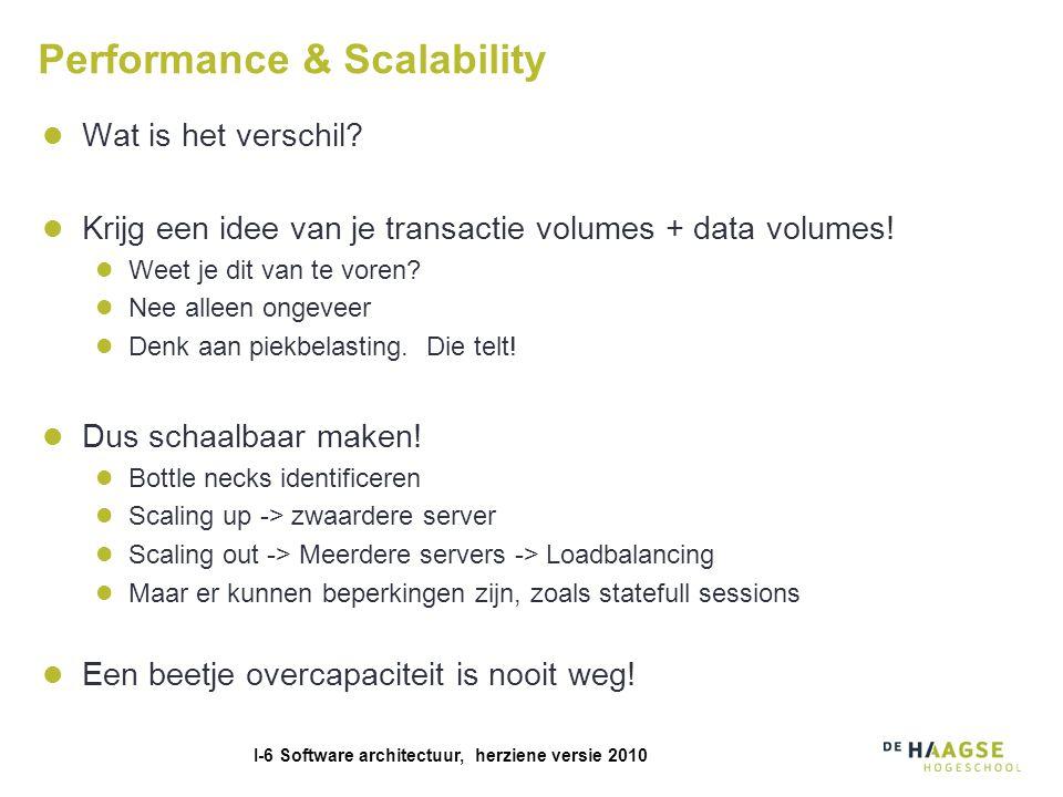 I-6 Software architectuur, herziene versie 2010 Performance & Scalability Wat is het verschil.