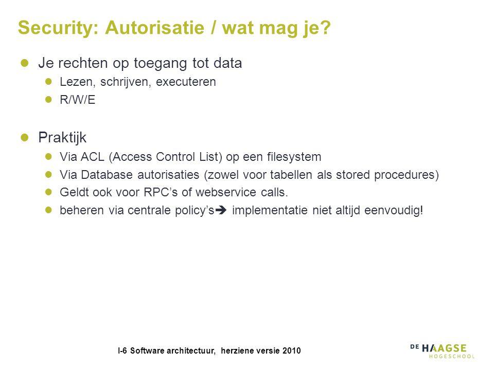 I-6 Software architectuur, herziene versie 2010 Security: Autorisatie / wat mag je.