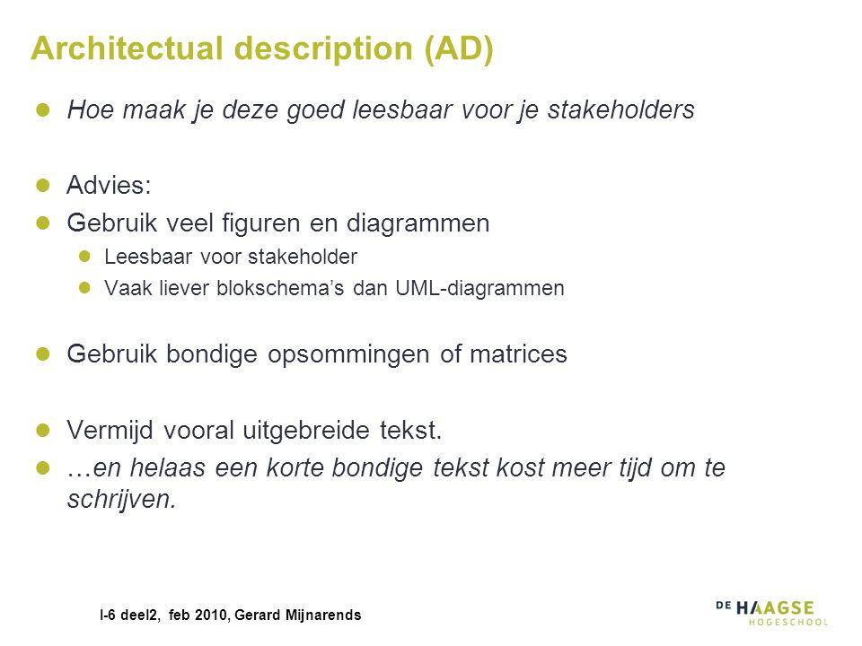 I-6 deel2, feb 2010, Gerard Mijnarends Architectual description (AD) Hoe maak je deze goed leesbaar voor je stakeholders Advies: Gebruik veel figuren