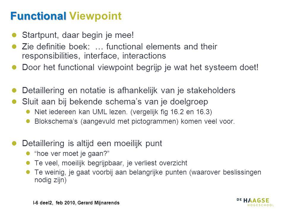 I-6 deel2, feb 2010, Gerard Mijnarends Functional Functional Viewpoint Startpunt, daar begin je mee! Zie definitie boek: … functional elements and the