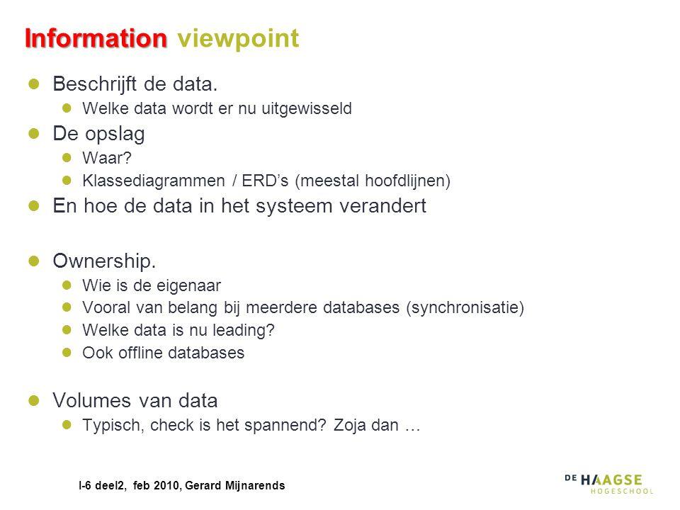 I-6 deel2, feb 2010, Gerard Mijnarends Information Information viewpoint Beschrijft de data. Welke data wordt er nu uitgewisseld De opslag Waar? Klass
