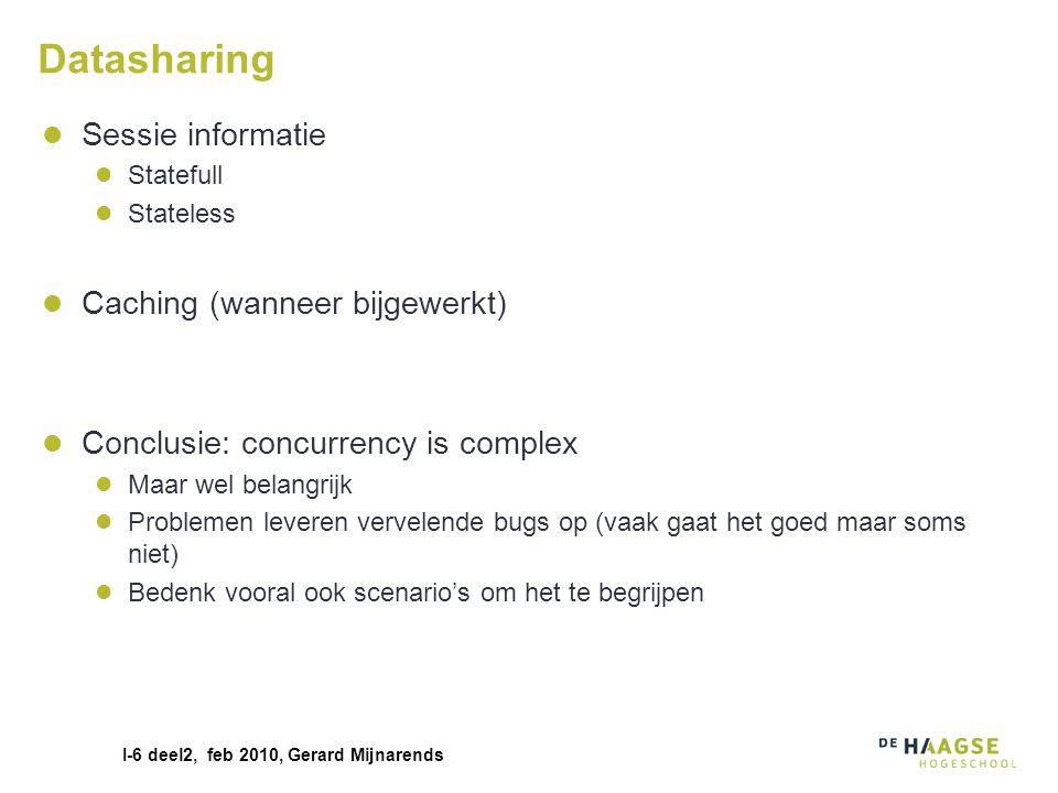 I-6 deel2, feb 2010, Gerard Mijnarends Datasharing Sessie informatie Statefull Stateless Caching (wanneer bijgewerkt) Conclusie: concurrency is comple