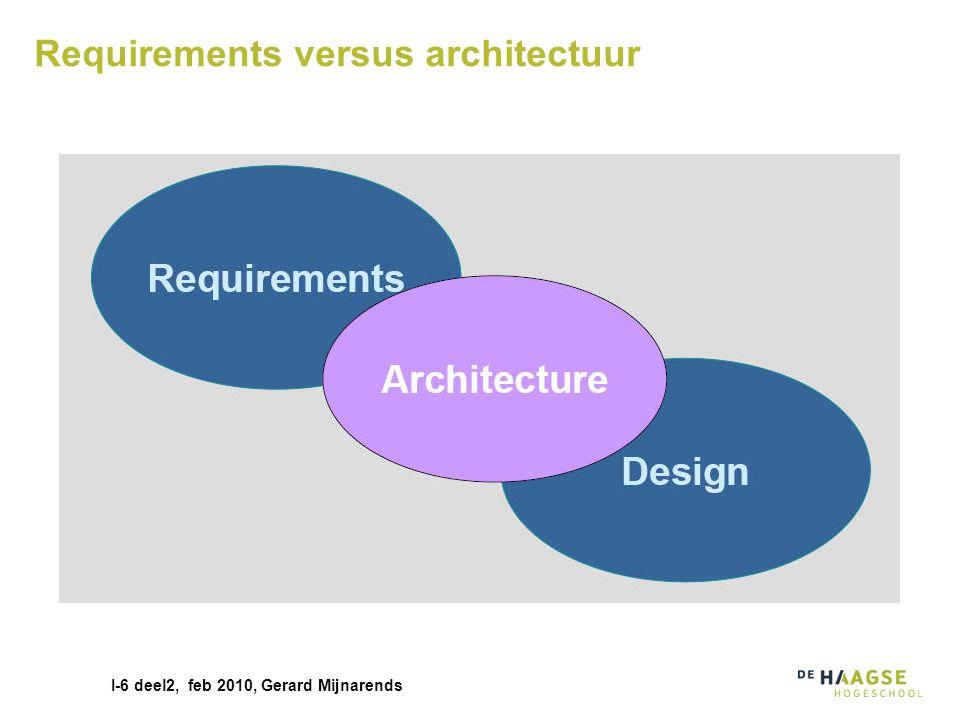I-6 deel2, feb 2010, Gerard Mijnarends Architectuur programma versus project Architectuur is vaak ook projectoverstijgend Niet voor ieder project het wiel opnieuw uitvinden Standaardisatie Middels referentie architecturen en blauwdrukken …en via normen, voorschriften..en via infrastructuur projecten Identity management Server virtualisatie Repository's