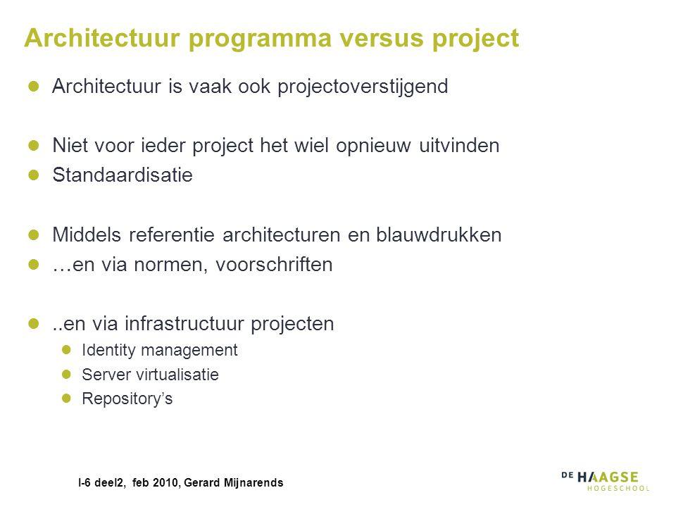 I-6 deel2, feb 2010, Gerard Mijnarends Architectuur programma versus project Architectuur is vaak ook projectoverstijgend Niet voor ieder project het