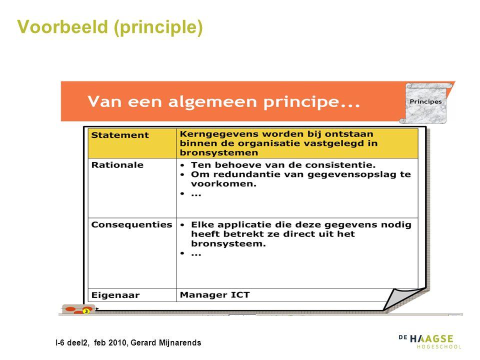 I-6 deel2, feb 2010, Gerard Mijnarends Van principle naar requirement Hoe vertaal ik de algemene eis naar een requirement in mijn project.