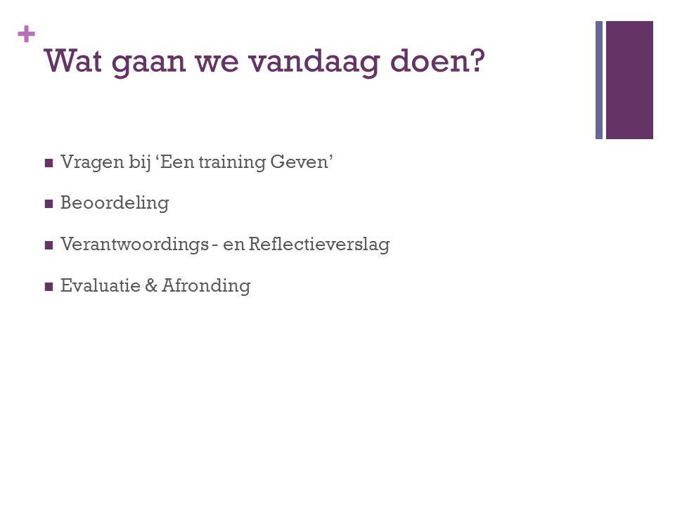 + Wat gaan we vandaag doen? Vragen bij 'Een training Geven' Beoordeling Verantwoordings - en Reflectieverslag Evaluatie & Afronding
