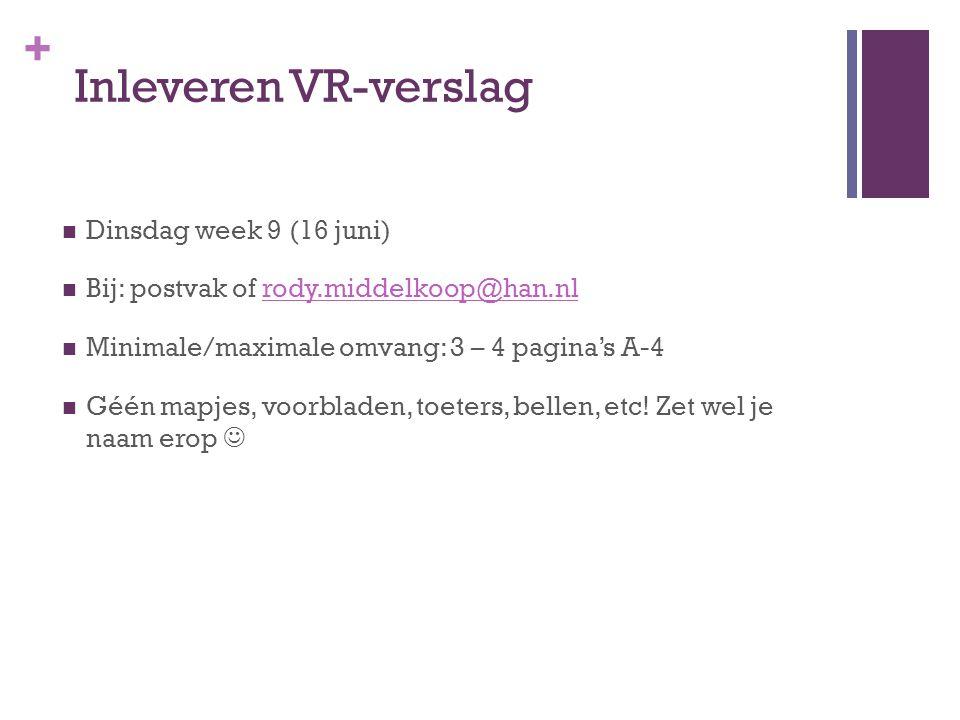 + Inleveren VR-verslag Dinsdag week 9 (16 juni) Bij: postvak of rody.middelkoop@han.nlrody.middelkoop@han.nl Minimale/maximale omvang: 3 – 4 pagina's