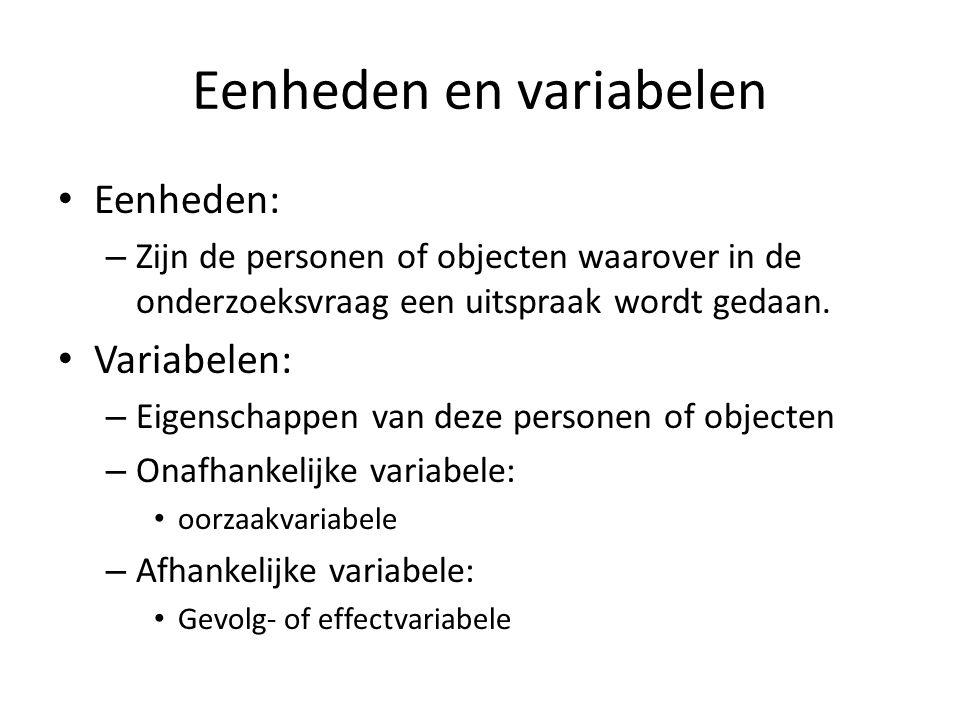 Eenheden en variabelen Eenheden: – Zijn de personen of objecten waarover in de onderzoeksvraag een uitspraak wordt gedaan. Variabelen: – Eigenschappen