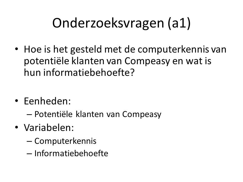 Onderzoeksvragen (a1) Hoe is het gesteld met de computerkennis van potentiële klanten van Compeasy en wat is hun informatiebehoefte? Eenheden: – Poten
