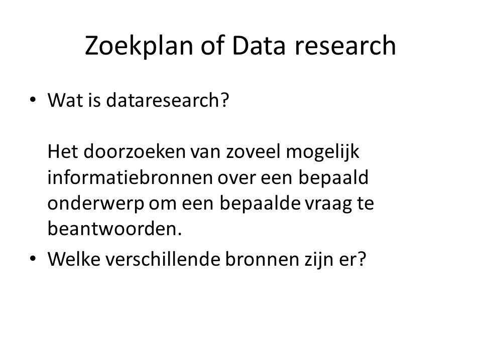 Zoekplan of Data research Wat is dataresearch? Het doorzoeken van zoveel mogelijk informatiebronnen over een bepaald onderwerp om een bepaalde vraag t