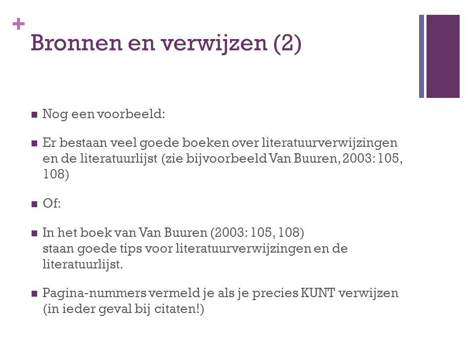 + Literatuurlijst (1) Boek: Auteur, (jaar), Titel van het boek, plaats: uitgever.