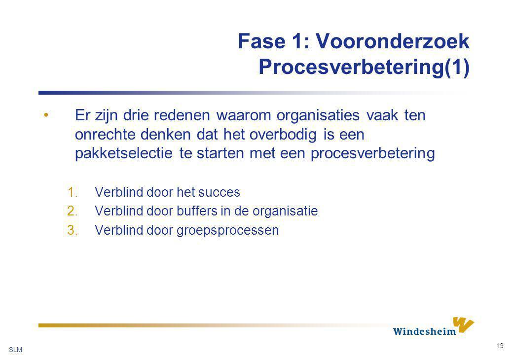 SLM 19 Fase 1: Vooronderzoek Procesverbetering(1) Er zijn drie redenen waarom organisaties vaak ten onrechte denken dat het overbodig is een pakketsel