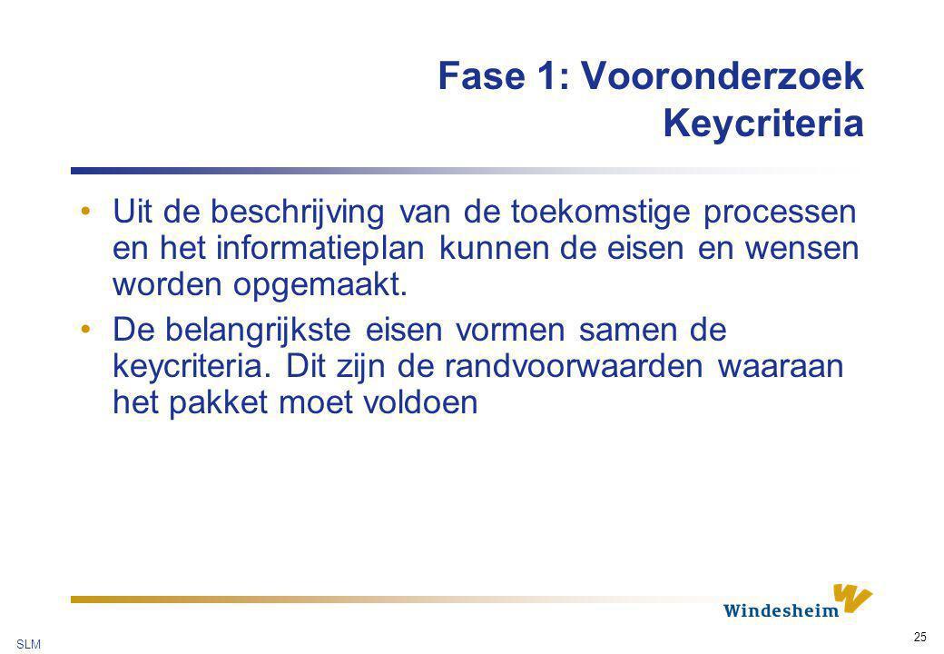 SLM 25 Fase 1: Vooronderzoek Keycriteria Uit de beschrijving van de toekomstige processen en het informatieplan kunnen de eisen en wensen worden opgem