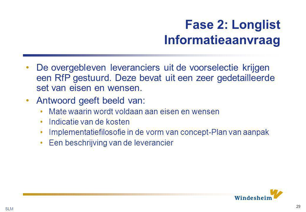 SLM 29 Fase 2: Longlist Informatieaanvraag De overgebleven leveranciers uit de voorselectie krijgen een RfP gestuurd. Deze bevat uit een zeer gedetail