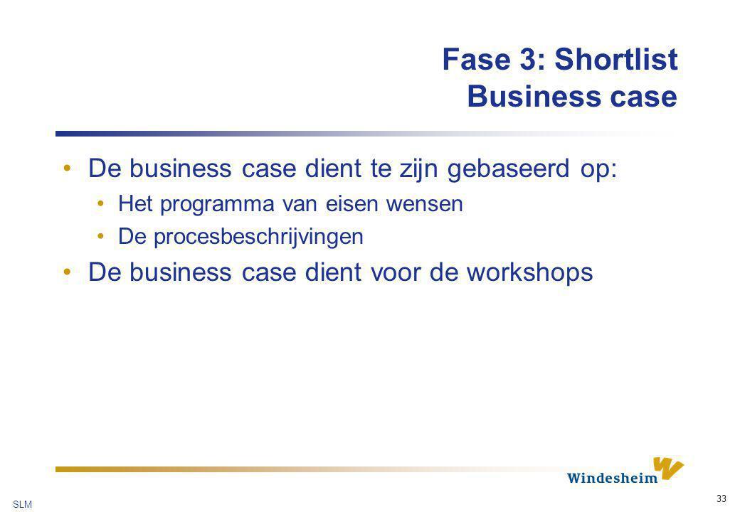 SLM 33 Fase 3: Shortlist Business case De business case dient te zijn gebaseerd op: Het programma van eisen wensen De procesbeschrijvingen De business
