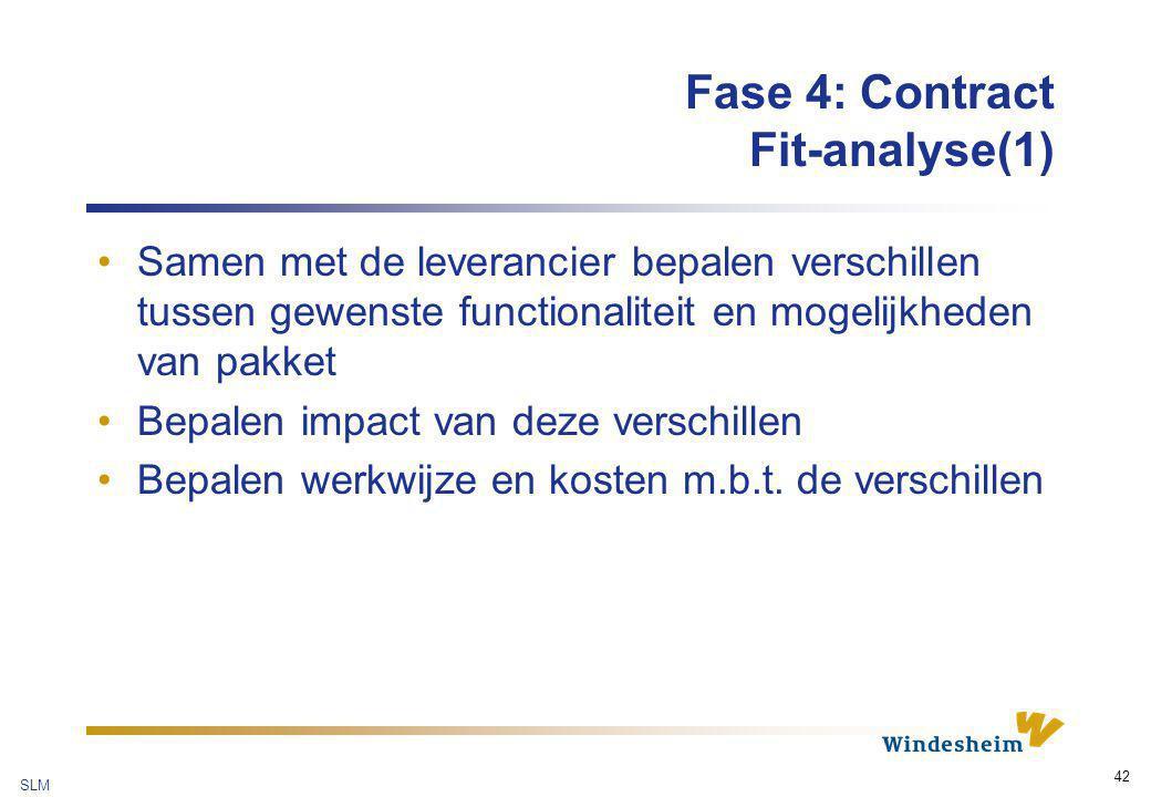SLM 42 Fase 4: Contract Fit-analyse(1) Samen met de leverancier bepalen verschillen tussen gewenste functionaliteit en mogelijkheden van pakket Bepale