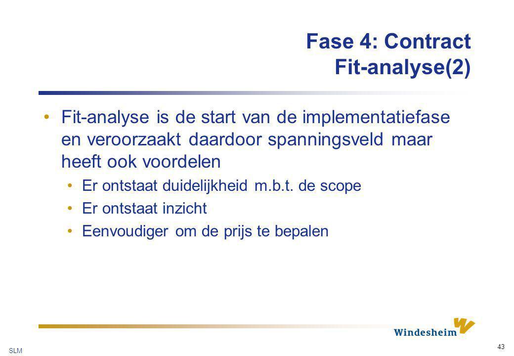 SLM 43 Fase 4: Contract Fit-analyse(2) Fit-analyse is de start van de implementatiefase en veroorzaakt daardoor spanningsveld maar heeft ook voordelen
