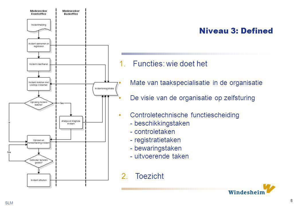 SLM 8 Niveau 3: Defined 1.Functies: wie doet het Mate van taakspecialisatie in de organisatie De visie van de organisatie op zelfsturing Controletechn