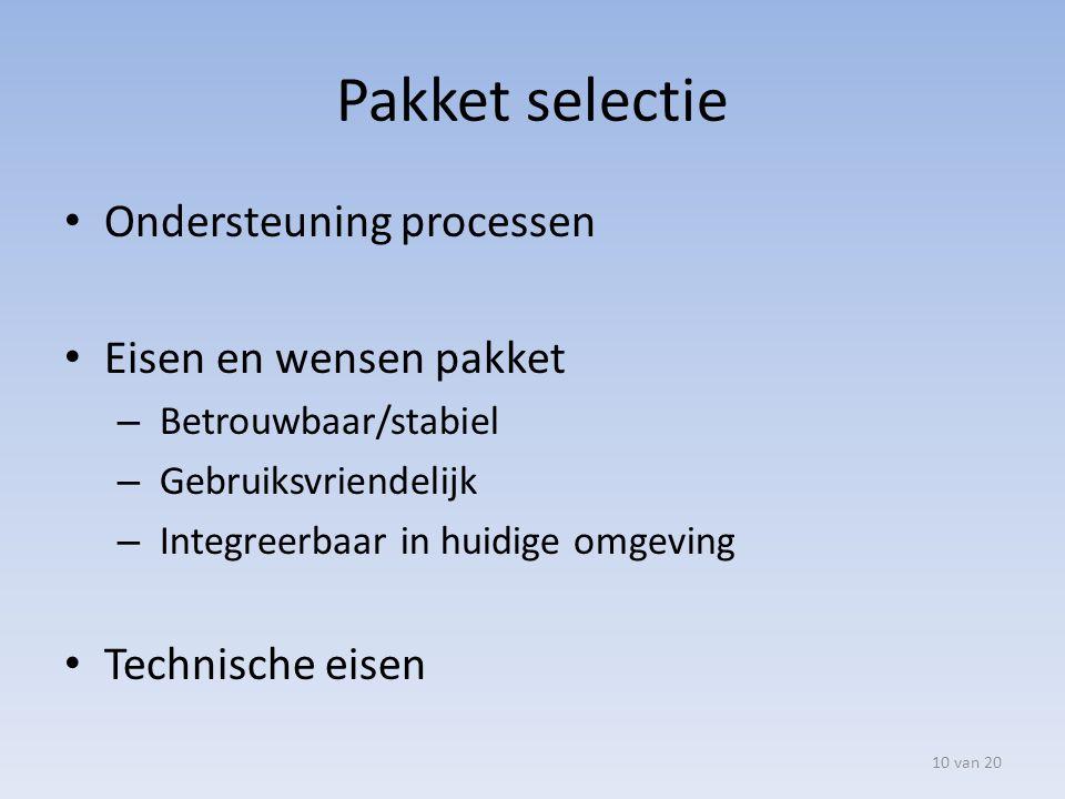 Pakket selectie Ondersteuning processen Eisen en wensen pakket – Betrouwbaar/stabiel – Gebruiksvriendelijk – Integreerbaar in huidige omgeving Technis