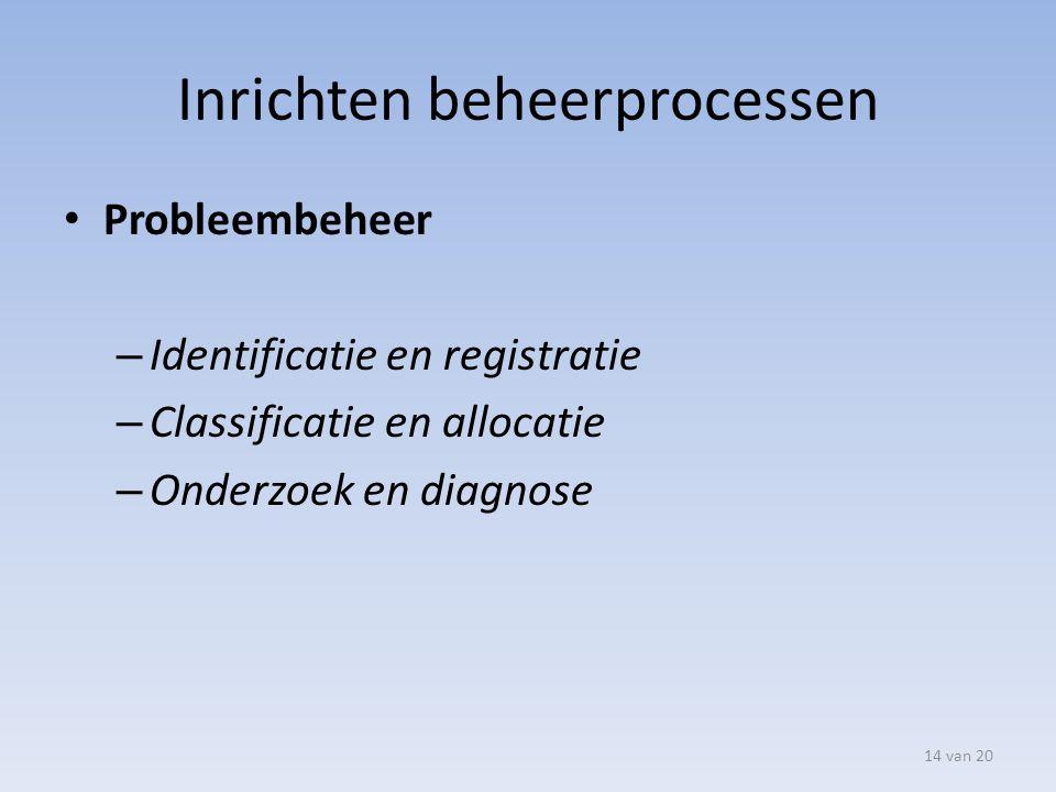 Inrichten beheerprocessen Probleembeheer – Identificatie en registratie – Classificatie en allocatie – Onderzoek en diagnose 14 van 20