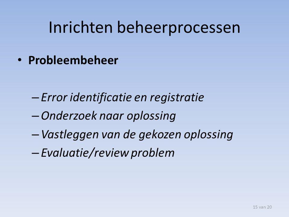 Inrichten beheerprocessen Probleembeheer – Error identificatie en registratie – Onderzoek naar oplossing – Vastleggen van de gekozen oplossing – Evalu