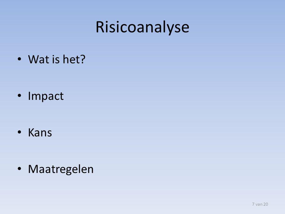Risicoanalyse Wat is het? Impact Kans Maatregelen 7 van 20