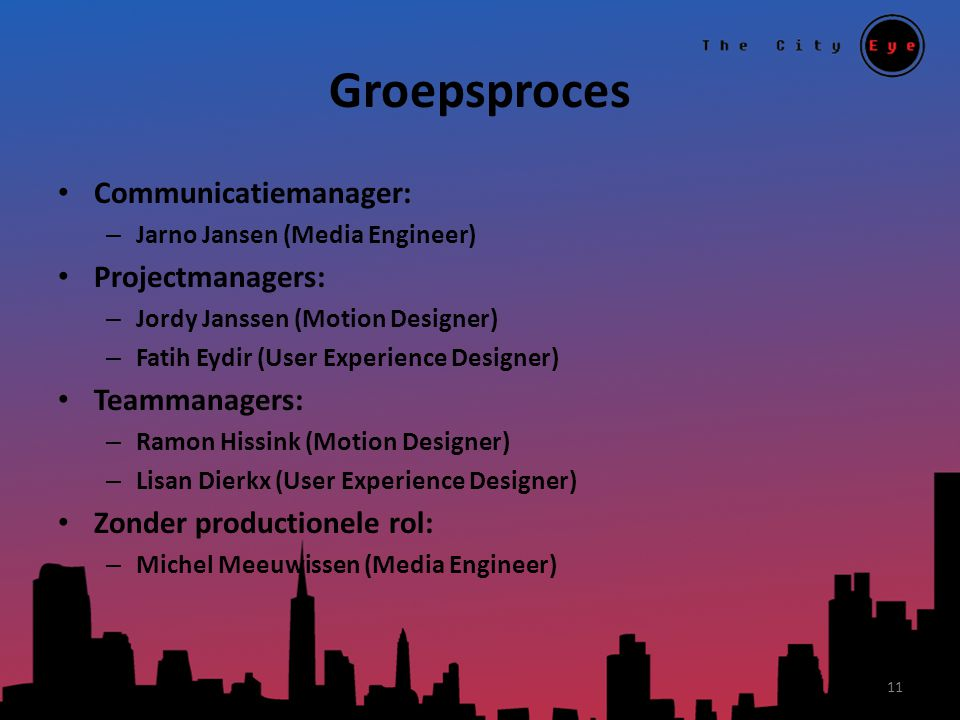 Groepsproces Communicatiemanager: – Jarno Jansen (Media Engineer) Projectmanagers: – Jordy Janssen (Motion Designer) – Fatih Eydir (User Experience Designer) Teammanagers: – Ramon Hissink (Motion Designer) – Lisan Dierkx (User Experience Designer) Zonder productionele rol: – Michel Meeuwissen (Media Engineer) 11