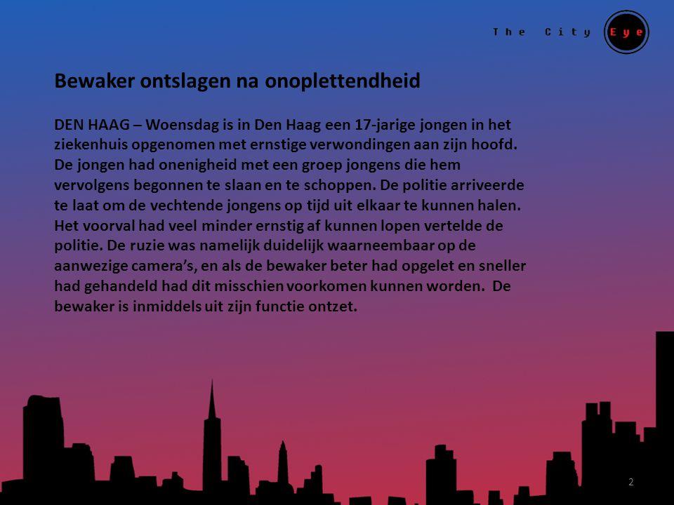 Bewaker ontslagen na onoplettendheid DEN HAAG – Woensdag is in Den Haag een 17-jarige jongen in het ziekenhuis opgenomen met ernstige verwondingen aan