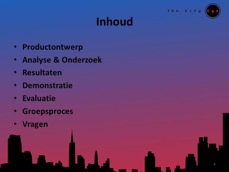 Inhoud Productontwerp Analyse & Onderzoek Resultaten Demonstratie Evaluatie Groepsproces Vragen 4