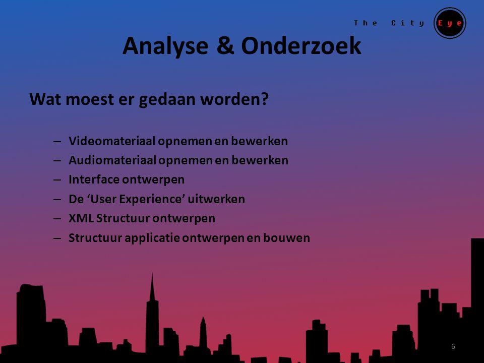Analyse & Onderzoek Wat moest er gedaan worden? – Videomateriaal opnemen en bewerken – Audiomateriaal opnemen en bewerken – Interface ontwerpen – De '