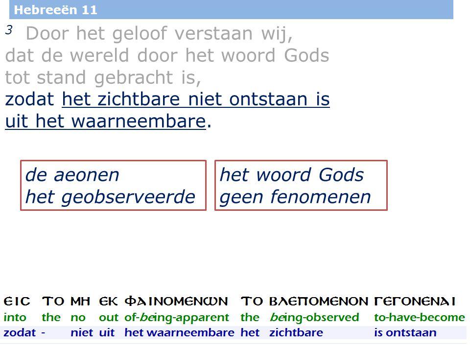 29 Hebreeën 11 3 Door het geloof verstaan wij, dat de wereld door het woord Gods tot stand gebracht is, zodat het zichtbare niet ontstaan is uit het waarneembare.