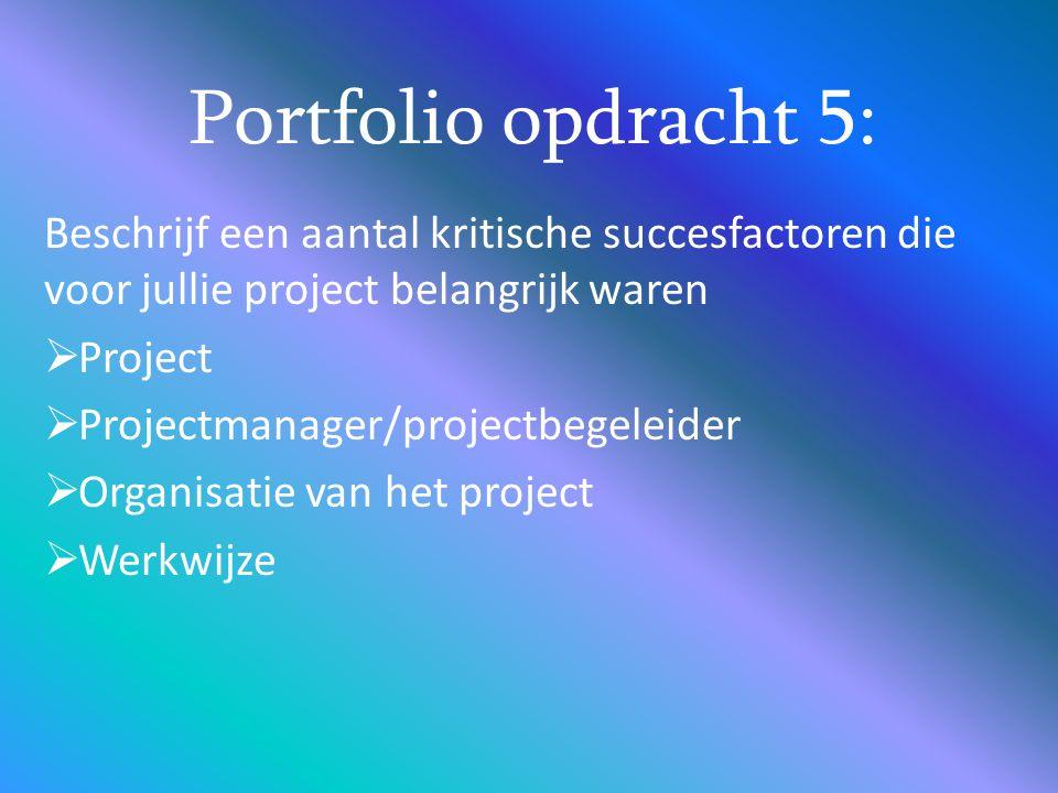 Beschrijf een aantal kritische succesfactoren die voor jullie project belangrijk waren  Project  Projectmanager/projectbegeleider  Organisatie van
