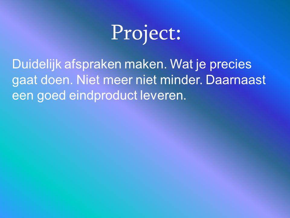 Project: Duidelijk afspraken maken. Wat je precies gaat doen. Niet meer niet minder. Daarnaast een goed eindproduct leveren.