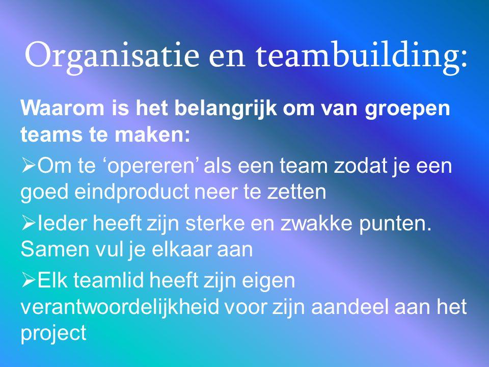 Organisatie en teambuilding: Waarom is het belangrijk om van groepen teams te maken:  Om te 'opereren' als een team zodat je een goed eindproduct nee