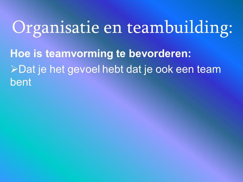 Organisatie en teambuilding: Hoe is teamvorming te bevorderen:  Dat je het gevoel hebt dat je ook een team bent