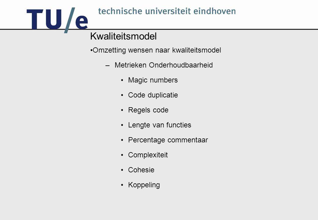 Kwaliteitsmodel Omzetting wensen naar kwaliteitsmodel –Metrieken Onderhoudbaarheid Magic numbers Code duplicatie Regels code Lengte van functies Percentage commentaar Complexiteit Cohesie Koppeling