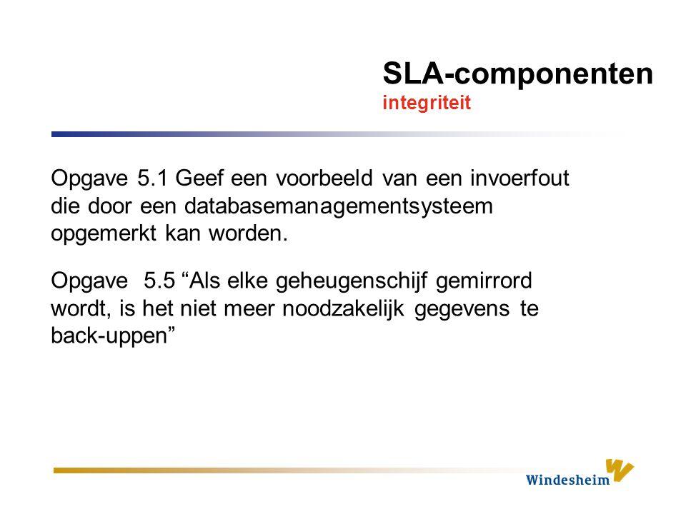 SLA-componenten integriteit Opgave 5.1 Geef een voorbeeld van een invoerfout die door een databasemanagementsysteem opgemerkt kan worden.