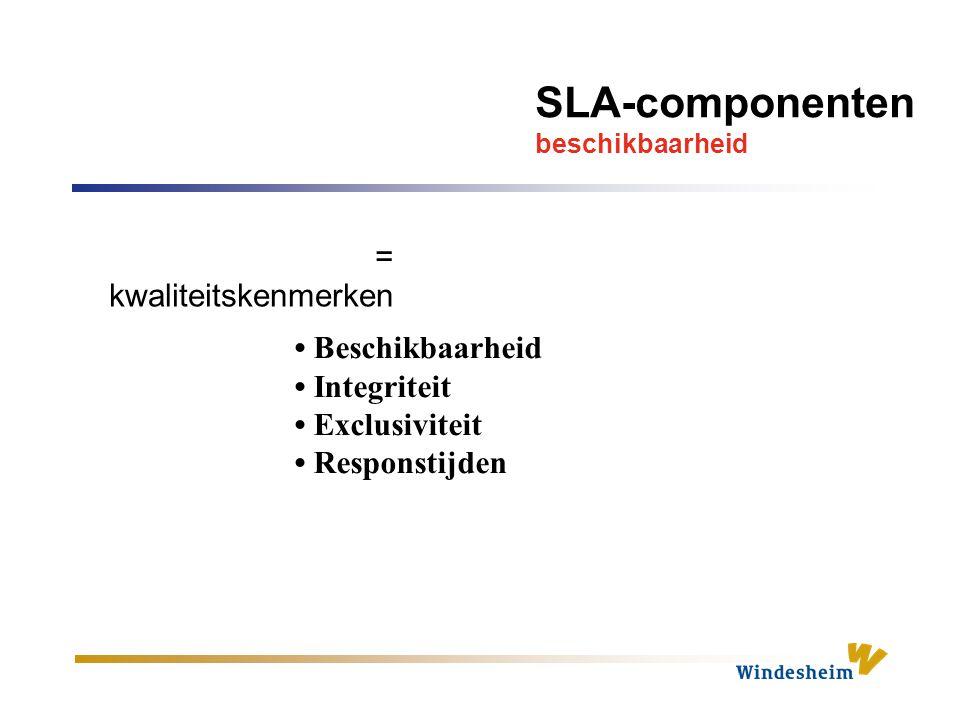 SLA-componenten beschikbaarheid Beschikbaarheid Integriteit Exclusiviteit Responstijden = kwaliteitskenmerken