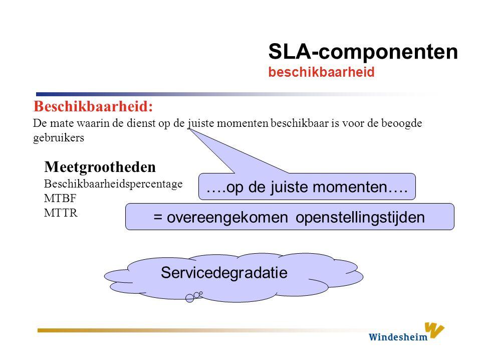 SLA-componenten beschikbaarheid Beschikbaarheid: De mate waarin de dienst op de juiste momenten beschikbaar is voor de beoogde gebruikers ….op de juiste momenten….