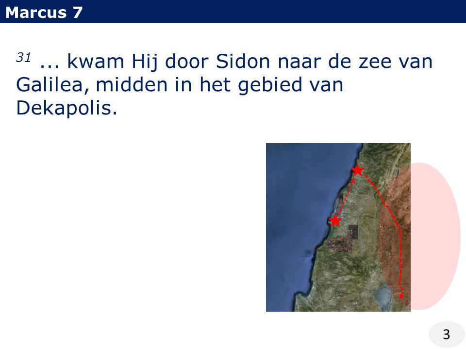 Marcus 7 3 31... kwam Hij door Sidon naar de zee van Galilea, midden in het gebied van Dekapolis.