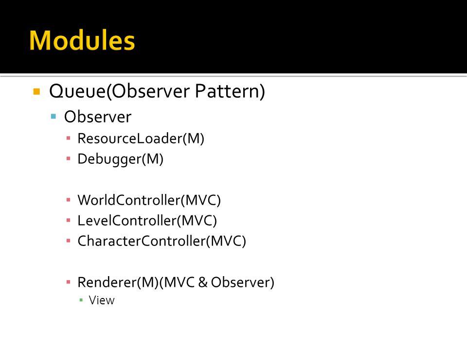  Queue(Observer Pattern)  Observer ▪ ResourceLoader(M) ▪ Debugger(M) ▪ WorldController(MVC) ▪ LevelController(MVC) ▪ CharacterController(MVC) ▪ Rend
