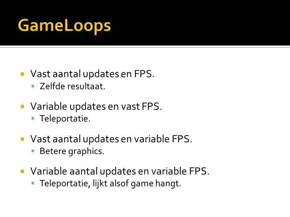  Vast aantal updates en FPS.  Zelfde resultaat.  Variable updates en vast FPS.  Teleportatie.  Vast aantal updates en variable FPS.  Betere grap