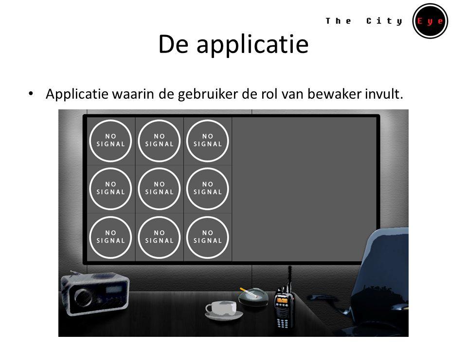 De applicatie Applicatie waarin de gebruiker de rol van bewaker invult.