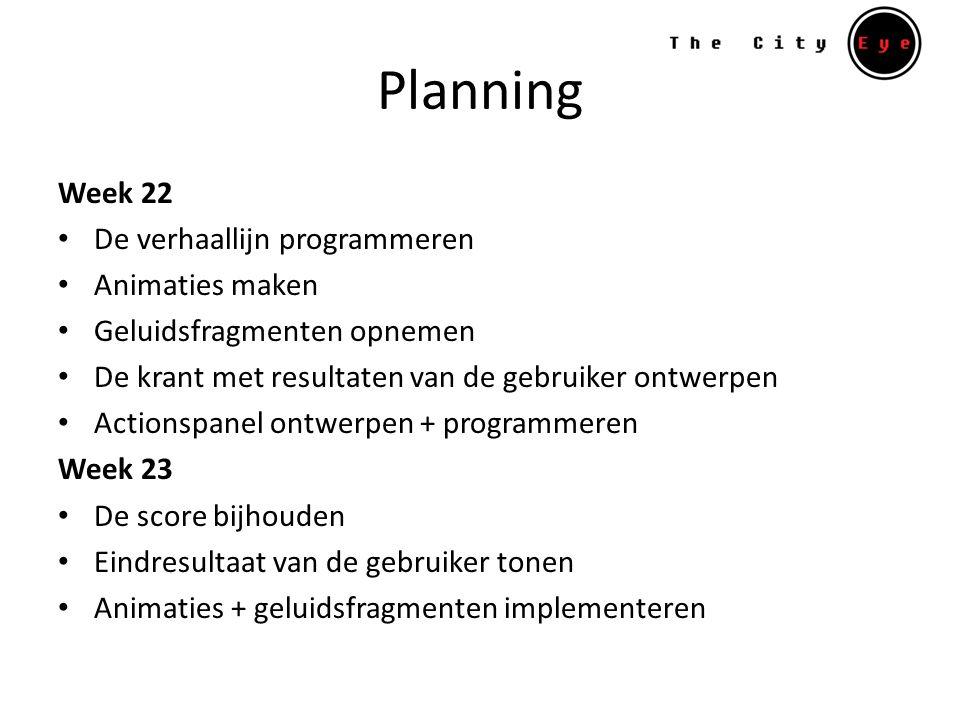 Planning Week 22 De verhaallijn programmeren Animaties maken Geluidsfragmenten opnemen De krant met resultaten van de gebruiker ontwerpen Actionspanel