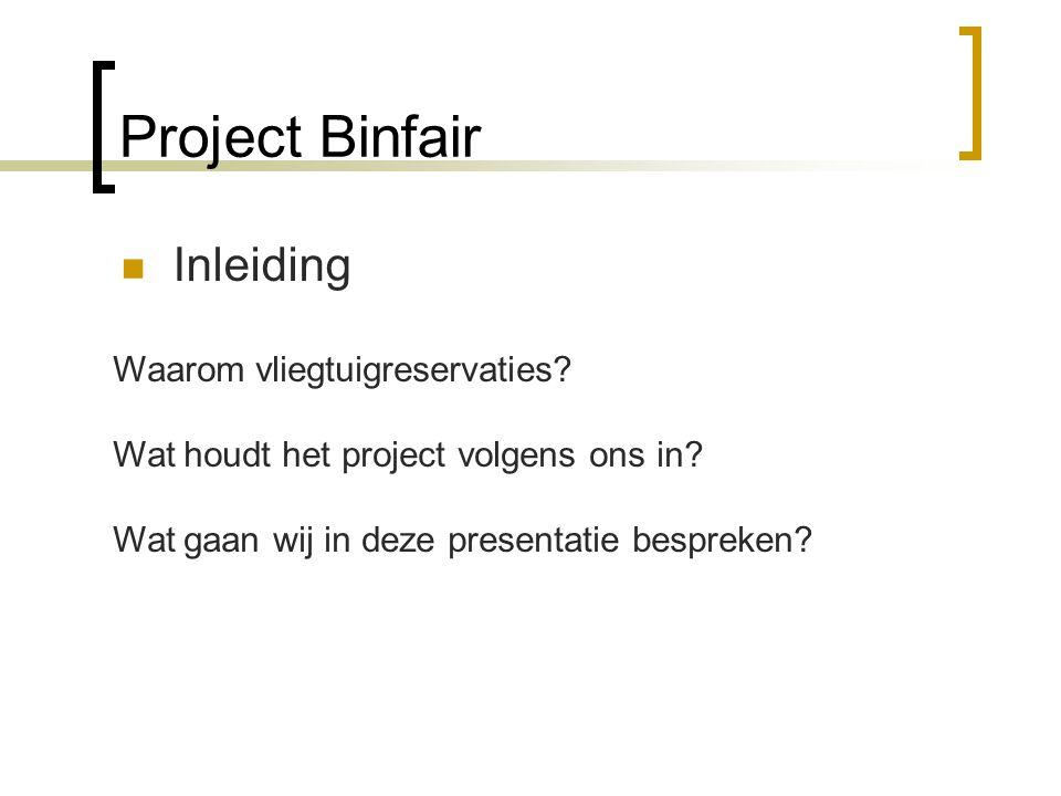 Project Binfair Inleiding Waarom vliegtuigreservaties? Wat houdt het project volgens ons in? Wat gaan wij in deze presentatie bespreken?
