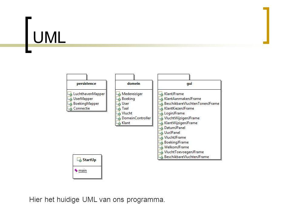 UML Hier het huidige UML van ons programma.